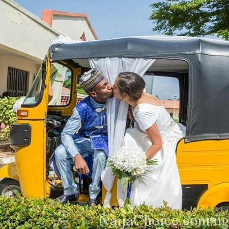Nigerian Man And His Oyinbo Bride Wed With Keke NAPEP (Photos)