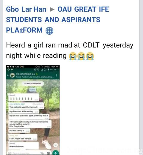 Shocking! OAU Female Student 'Ran Mad' While Reading For Exam
