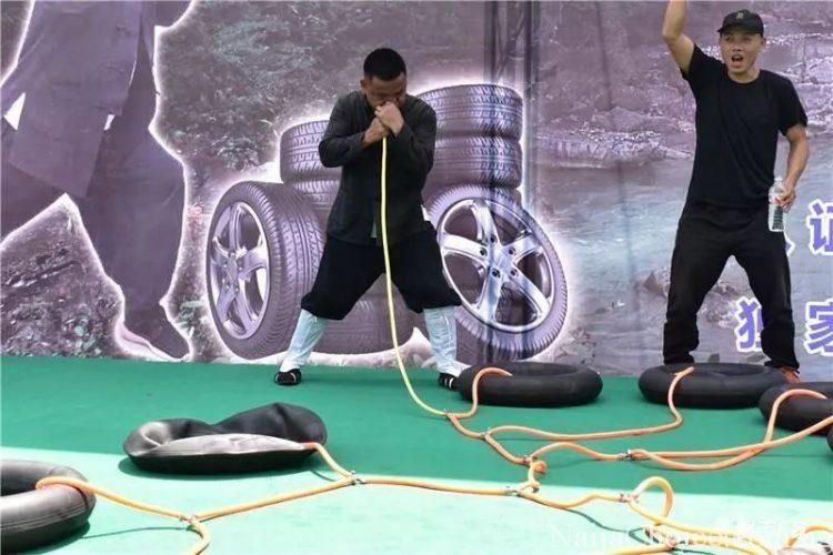 Unbelievable: Man Fills 12 Deflated Tyre Tubes With Air By Blowing Through His Nose (Photos)