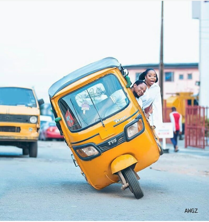 Agbero Style: Couple Rides Keke In Beautiful Pre-wedding Pictures