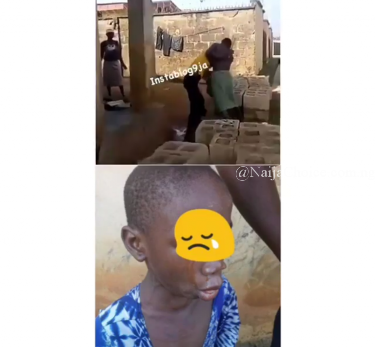 "Video Of A ""FOOLISH"" Man Publicly Beating His Wife And Child In Ibadan (Video)"