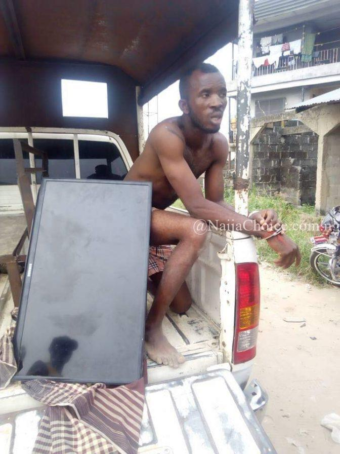 Face Of Thief Caught Red-handed Stealing Plasma TV From A Bar In Delta (Photos)