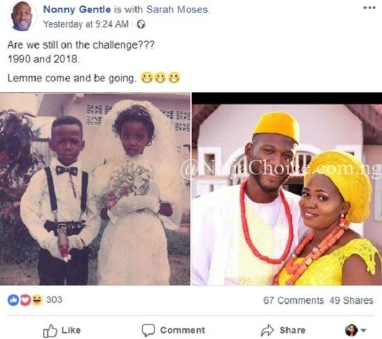 Adorable photos of Ring bearer and little bride that got married 28 years later