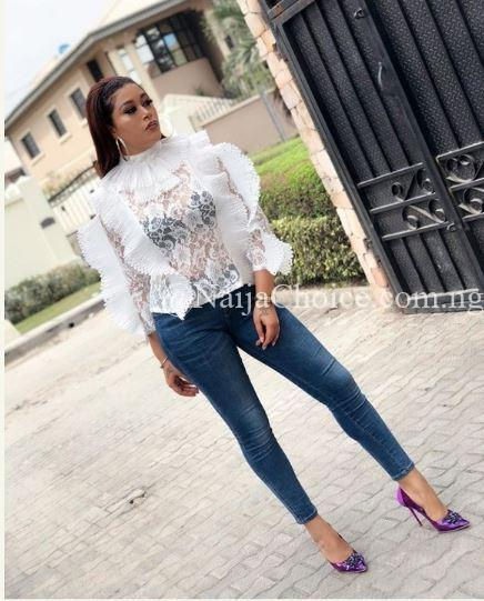 Beautiful Adunni Ade Rocks Transparent Top With Denim (Photos)