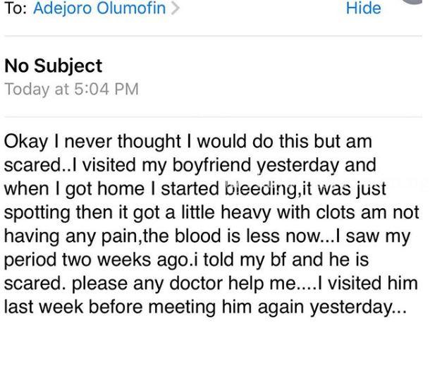 Lady Starts To Bleed Immediately After Visiting Boyfriend's House