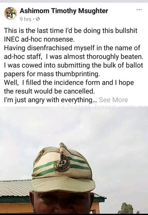 Corper & INEC Ad-hoc Staff Explains How He Was Forced To Submit Fake Result In Benue