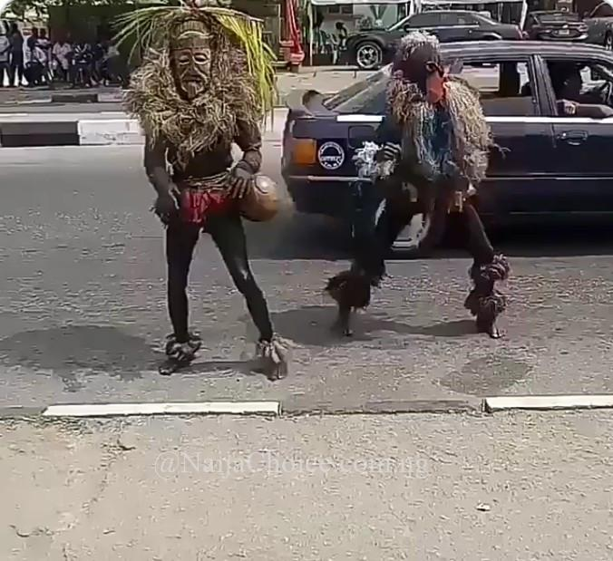 Masquerades Twerking And Doing Zanku Dance In The Middle Of The Street In Nigeria(Video)