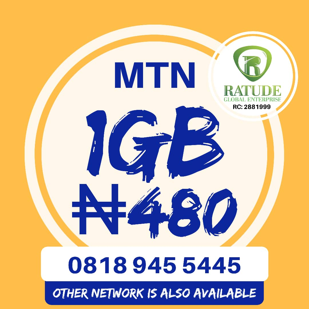 Get MTN 1GB For N500 or 2GB For N100 With 3 Month Validity