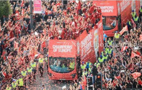 Wow! See How Over 750,000 Liverpool Fans Turned City Centre Red In Champions League Parade (Photos)