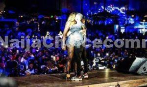 Tiwa Savage & Wizkid French Kiss Passionately On Stage In Paris, Wizkid Grabs Butt Also || Watch Video